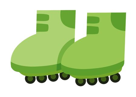 Isolated rollerskates in green color illustration Stock Illustratie