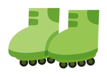 Isolated rollerskates in green color illustration Illustration