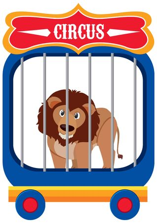 Single character of circus lion on white background illustration