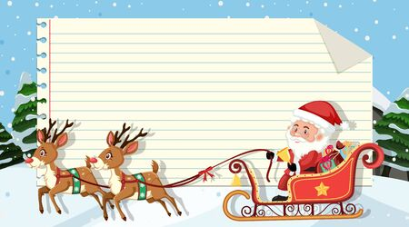 Paper template with Santa and reindeer background illustration