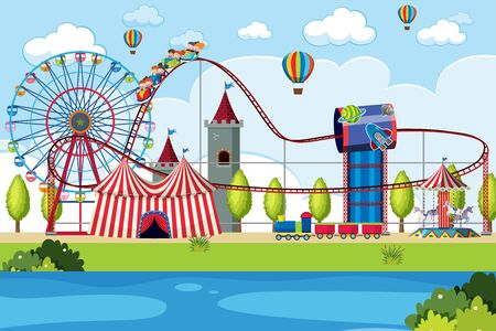 Amusement park scene with many rides illustration