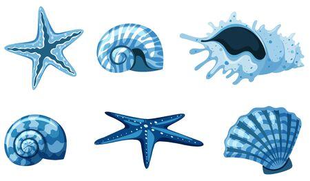 Set of isolated set of sea shells in blue illustration Ilustração