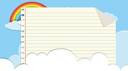Border template withsky and rainbow background illustration