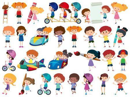 Large set of isolated objects of kids  illustration