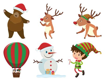 Christmas set with elf and reindeers illustration