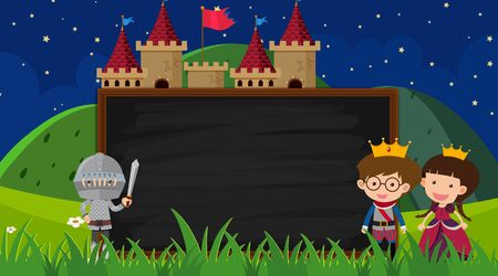 Border template with prince and princess in background illustration