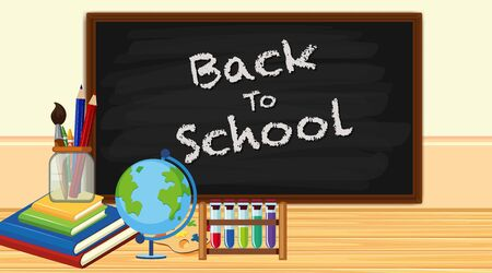 Back to school sign with board and school items illustration  イラスト・ベクター素材