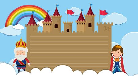 Border template with king and queen at the castle illustration