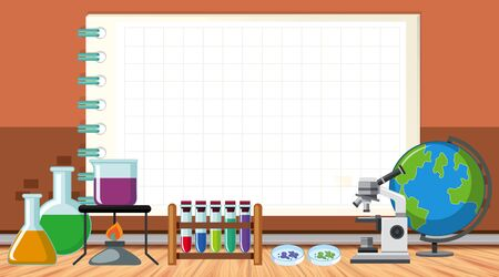 Border template with science equipments illustration