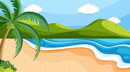 Nature scene with ocean and hills illustration