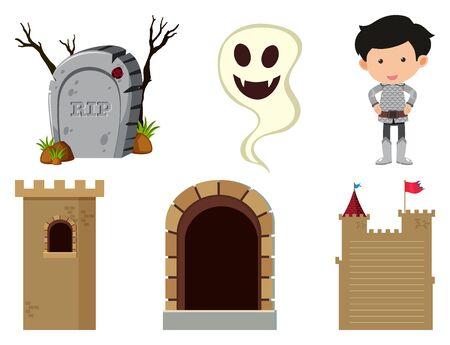 Set of isolated objects theme fairytales illustration Ilustração