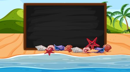 Border template with seashells on the beach background illustration