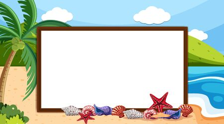 Border template with ocean and beach in background illustration