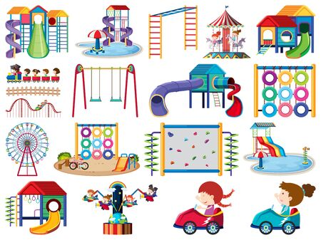 Large set of isolated objects of playground and kids illustration