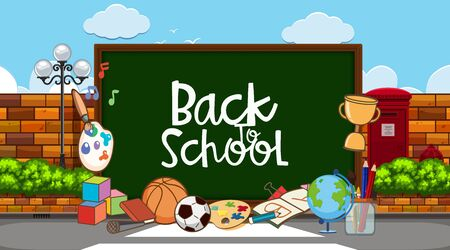 Back to school sign with many school items in background illustration