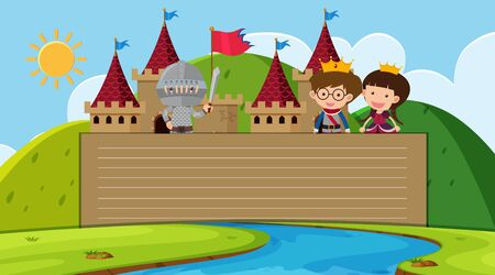 Paper template with prince and princess in the castle illustration