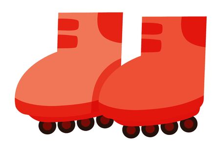 Isolated pair of rollerskates in red color illustration
