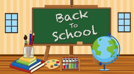 Back to school sign in classroom with school equipments illustration