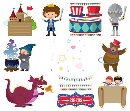 Set of many fairytale characters illustration