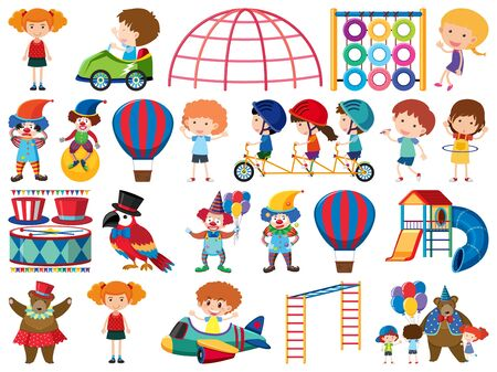 Large set of isolated objects of kids and circus illustration