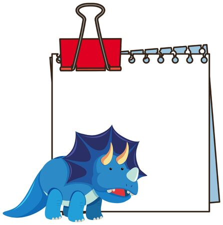 Frame design template with blue triceratops illustration