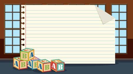 Paper template with alphabet blocks illustration Ilustração