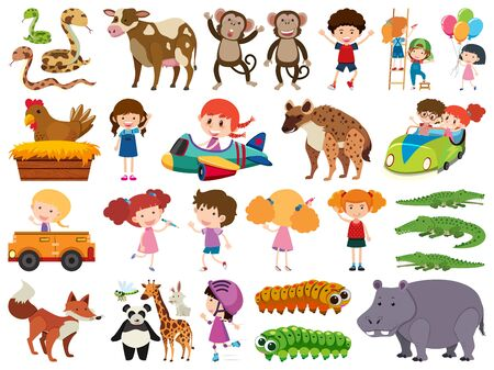 Set of isolated objects of animals and children illustration