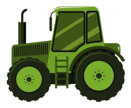 Single picture of green tractor illustration