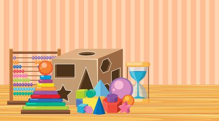 Room with many toys on the floor illustration