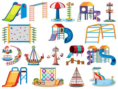 Large set of isolated objects of playground station illustration