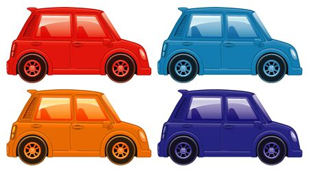 Set of four pictures of cars in different colors illustration