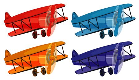 Set of four pictures of airplane in different colors illustration