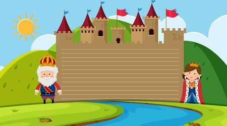 Paper template with king and queen at the castle illustration Ilustração