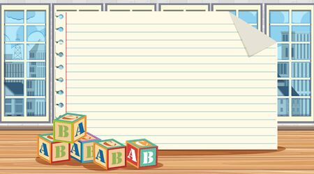 Paper template with alphabet blocks on the floor illustration Ilustração