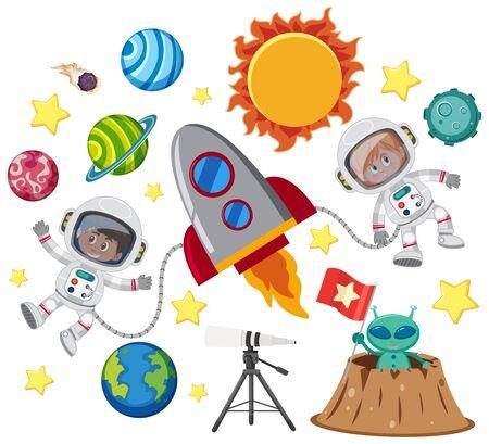 Set of isolated objects theme space illustration Ilustração