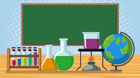 Board and school items in the classroom illustration