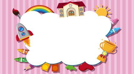 Border template with school items illustration  イラスト・ベクター素材