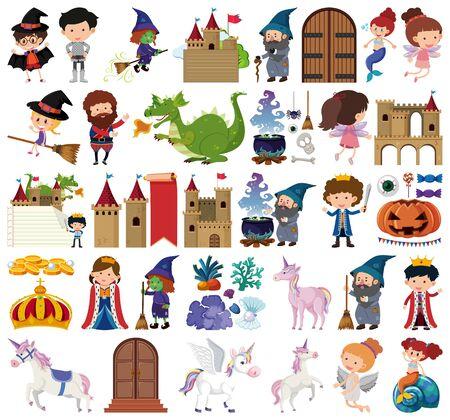 Set of isolated objects theme fairytale illustration Illusztráció
