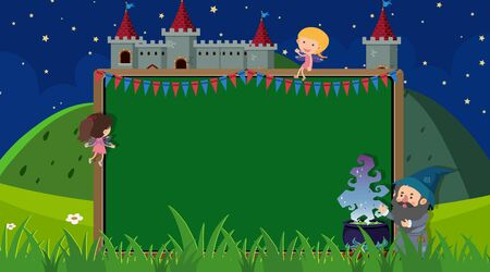 Border template with wizard and fairies in background illustration Ilustracja