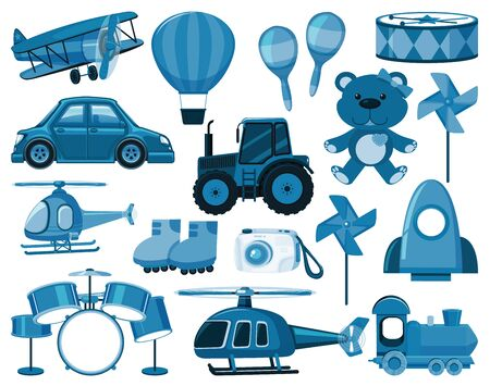 Large set of blue toys and other objects illustration