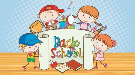 Back to school sign with many happy kids illustration Ilustração