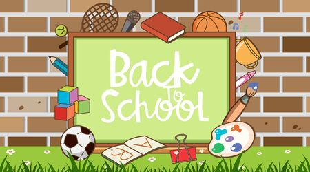 Back to school sign with school items background illustration  イラスト・ベクター素材