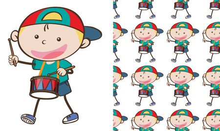 A seamless pattern on white of simple kid characters illustration