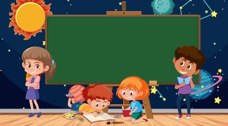 Border template with kids and space background illustration