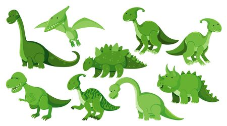 Large set of different types of dinosaurs in green illustration