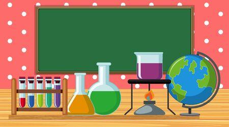 School laboratory with many equipments illustration