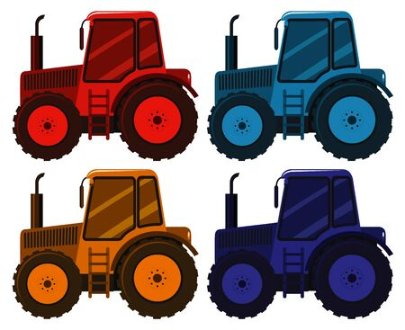 Set of four pictures of tractor in different colors illustration