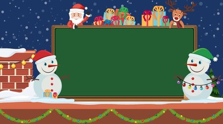 Border template with snowman and presents illustration