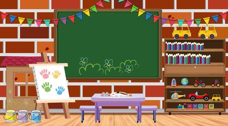 Back to school theme with many school items illustration