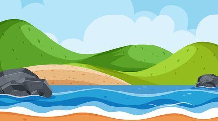 Landscape background design with ocean and green hills illustration